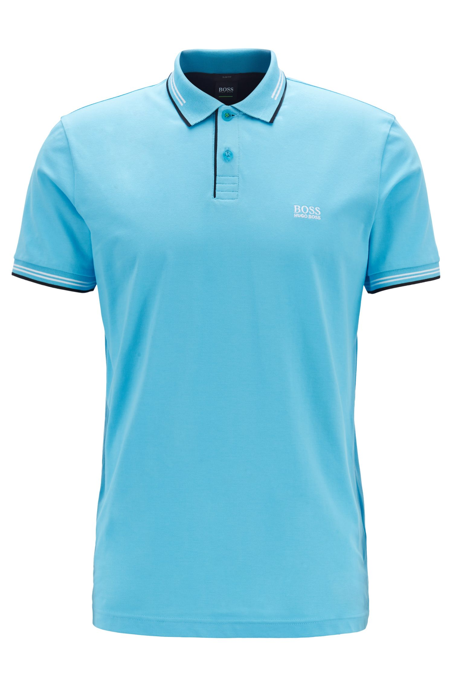 Slim-fit stretch-cotton polo shirt with contrast tipping, Turquoise