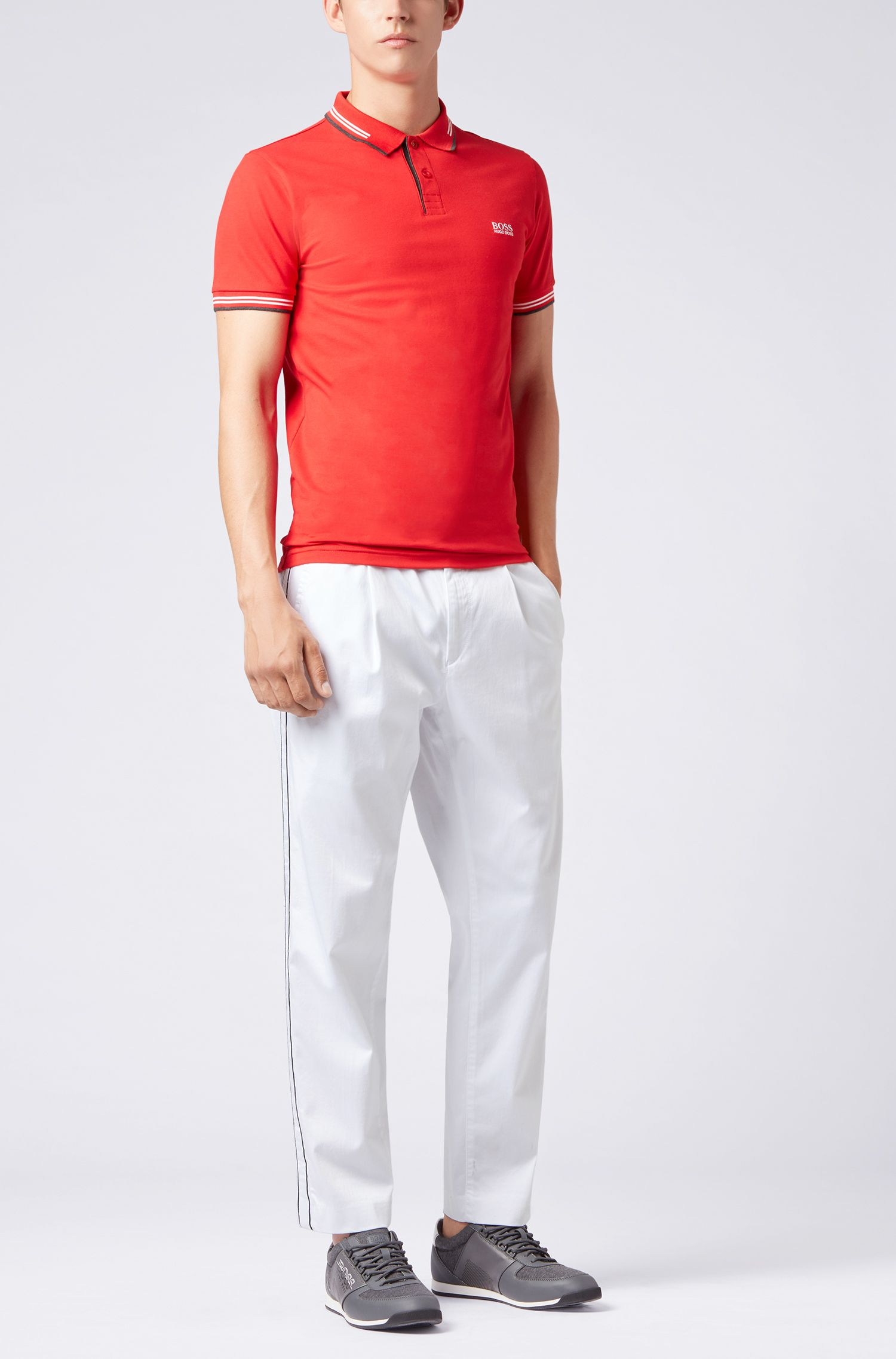 Slim-fit stretch-cotton polo shirt with contrast tipping, Open Red