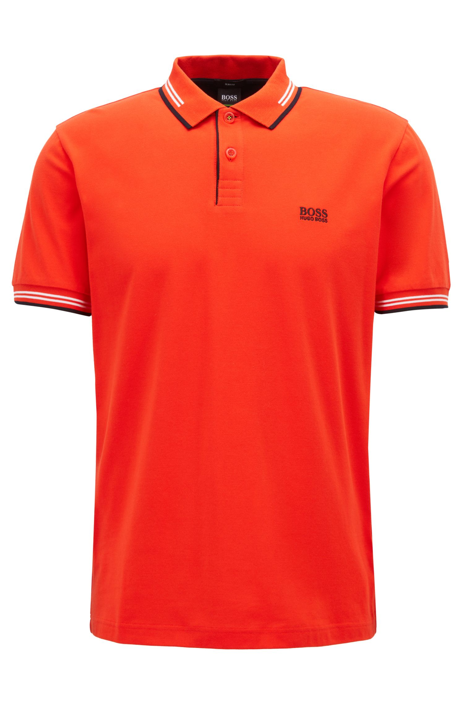 Slim-fit stretch-cotton polo shirt with contrast tipping, Dark Orange