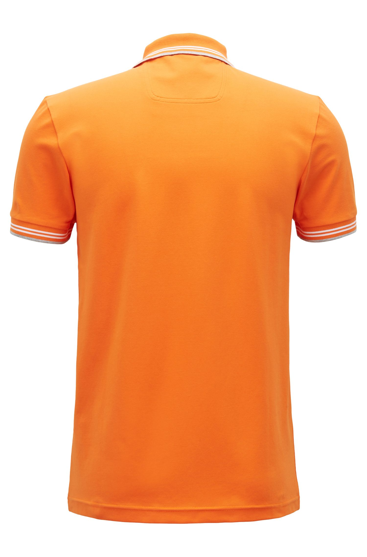 Slim-fit stretch-cotton polo shirt with contrast tipping, Orange