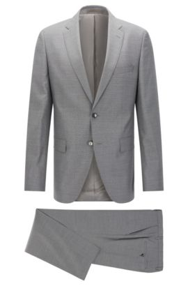Nailhead Italian Super 130 Virgin Wool Suit, Regular Fit | Johnstons/Lenon, Grey