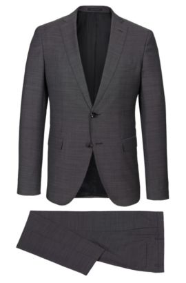Birdseye Italian Super 130 Virgin Wool Suit, Extra-Slim Fit | Reyno/Wave, Dark Grey