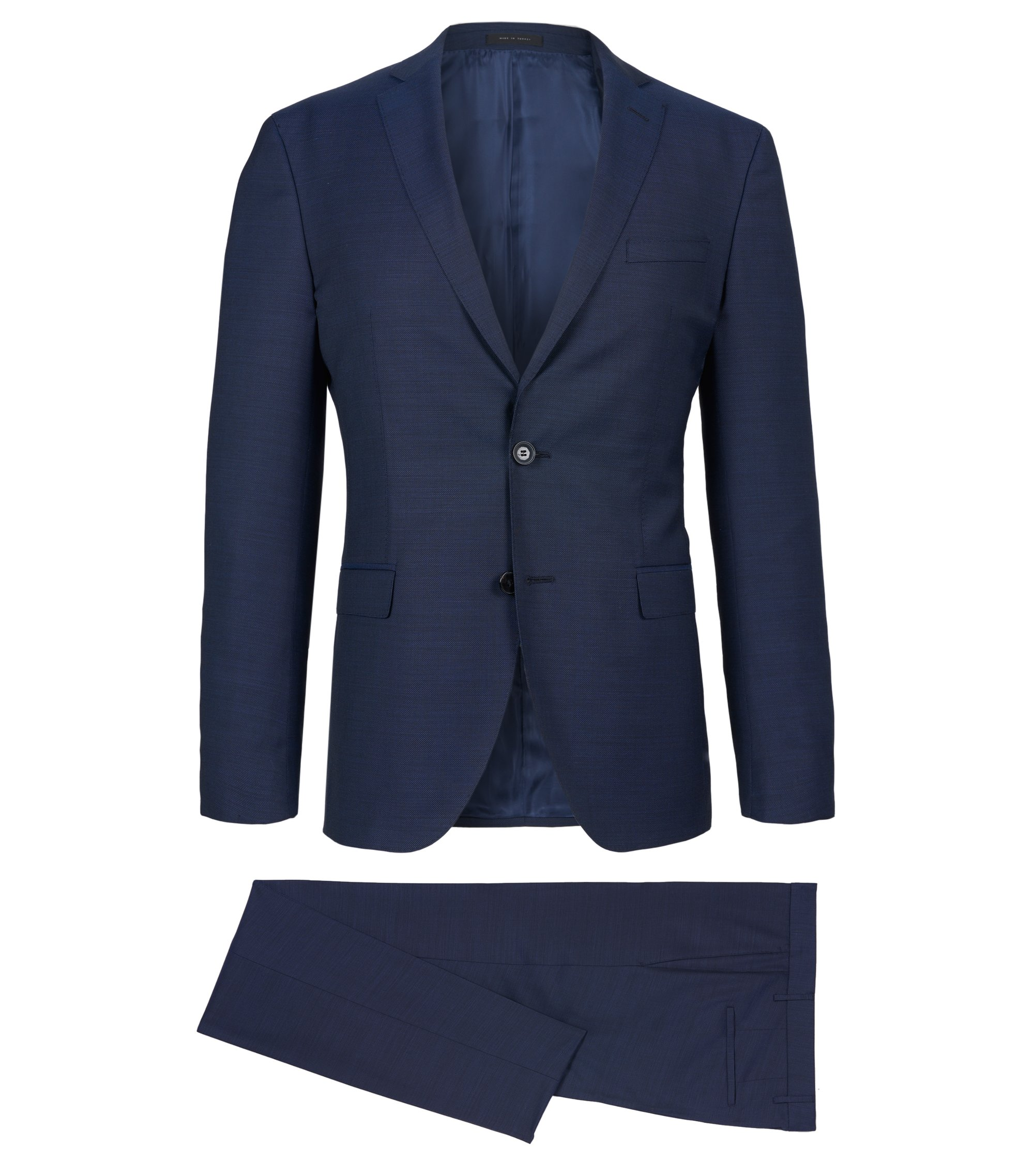 Birdseye Italian Super 100 Virgin Wool Suit, Extra-Slim Fit | Reyno/Wave, Dark Blue