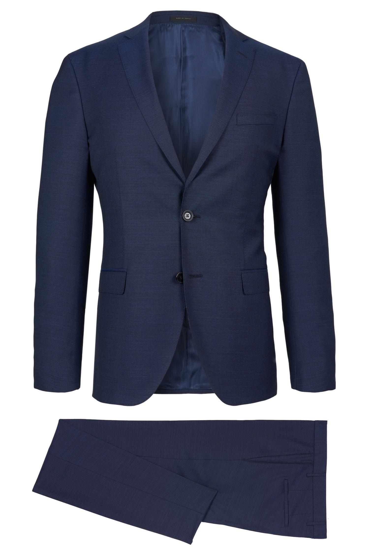 Birdseye Italian Super 100 Virgin Wool Suit, Extra-Slim Fit   Reyno/Wave