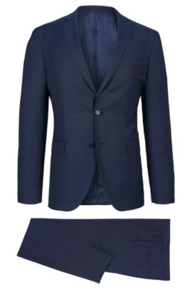 Birdseye Italian Super 130 Virgin Wool Suit, Extra-Slim Fit | Reyno/Wave, Dark Blue