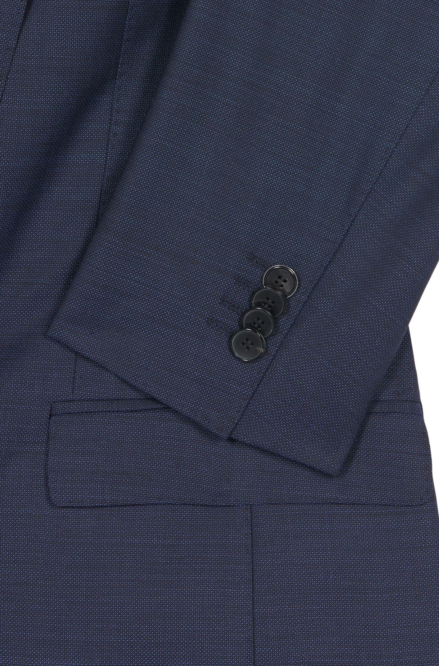Birdseye Italian Super 100 Virgin Wool Suit, Extra-Slim Fit   Reyno/Wave, Dark Blue
