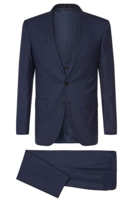Italian Super 130 Virgin Wool 3-Piece Suit, Slim Fit | Huge/Genius WE, Dark Blue