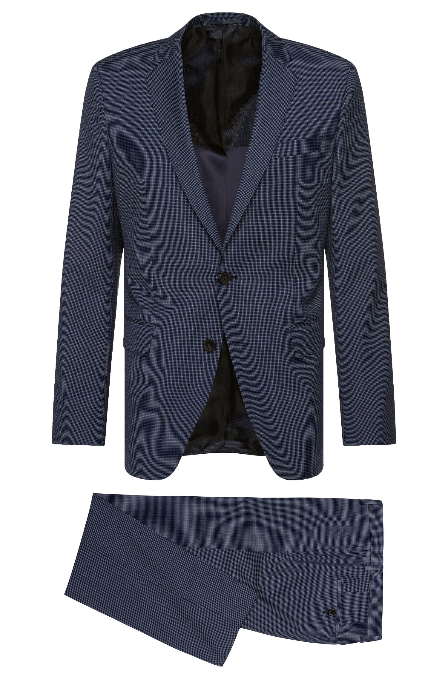 'Huge/Genius' | Slim Fit, Micro-Check Italian Super 120 Virgin Wool Suit
