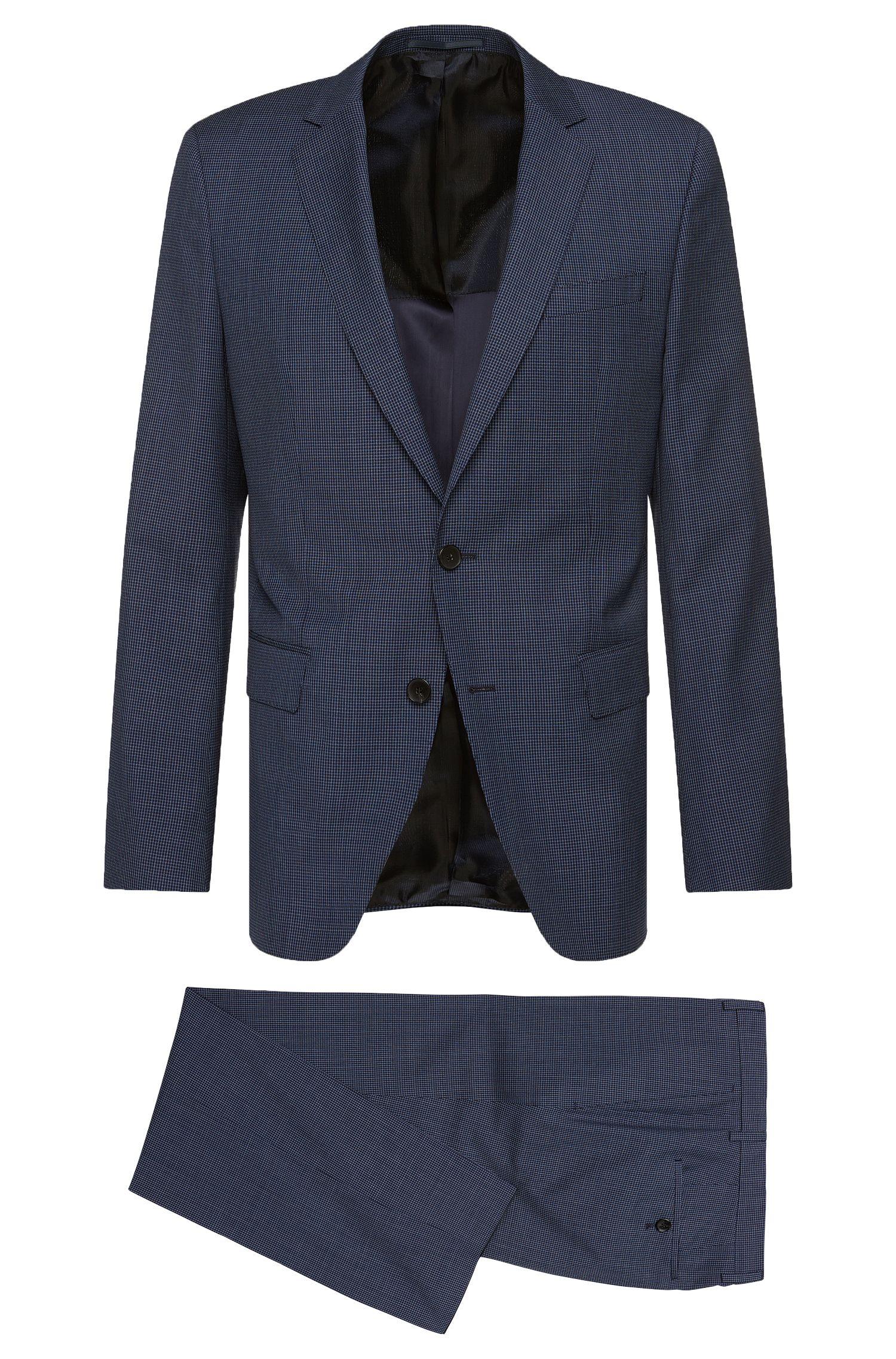 Pincheck Italian Virgin Wool Silk Suit, Slim Fit   Huge/Genius