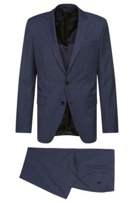 Pincheck Italian Virgin Wool Silk Suit, Slim Fit   Huge/Genius, Blue