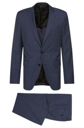 Pincheck Italian Virgin Wool Silk Suit, Slim Fit | Huge/Genius, Blue