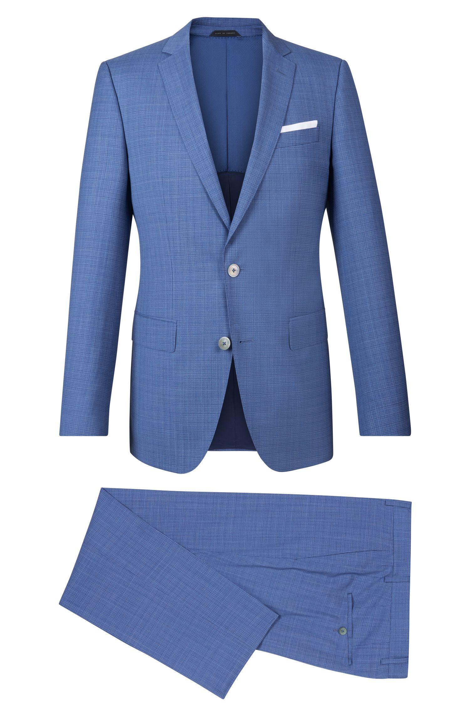 Crosshatch Virgin Wool Suit, Slim Fit   Hutson/Gander