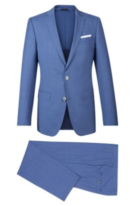 Crosshatch Virgin Wool Suit, Slim Fit | Hutson/Gander, Blue