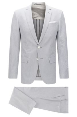 Seersucker Stretch Cotton Suit, Slim Fit | Hedson/Gander, Grey