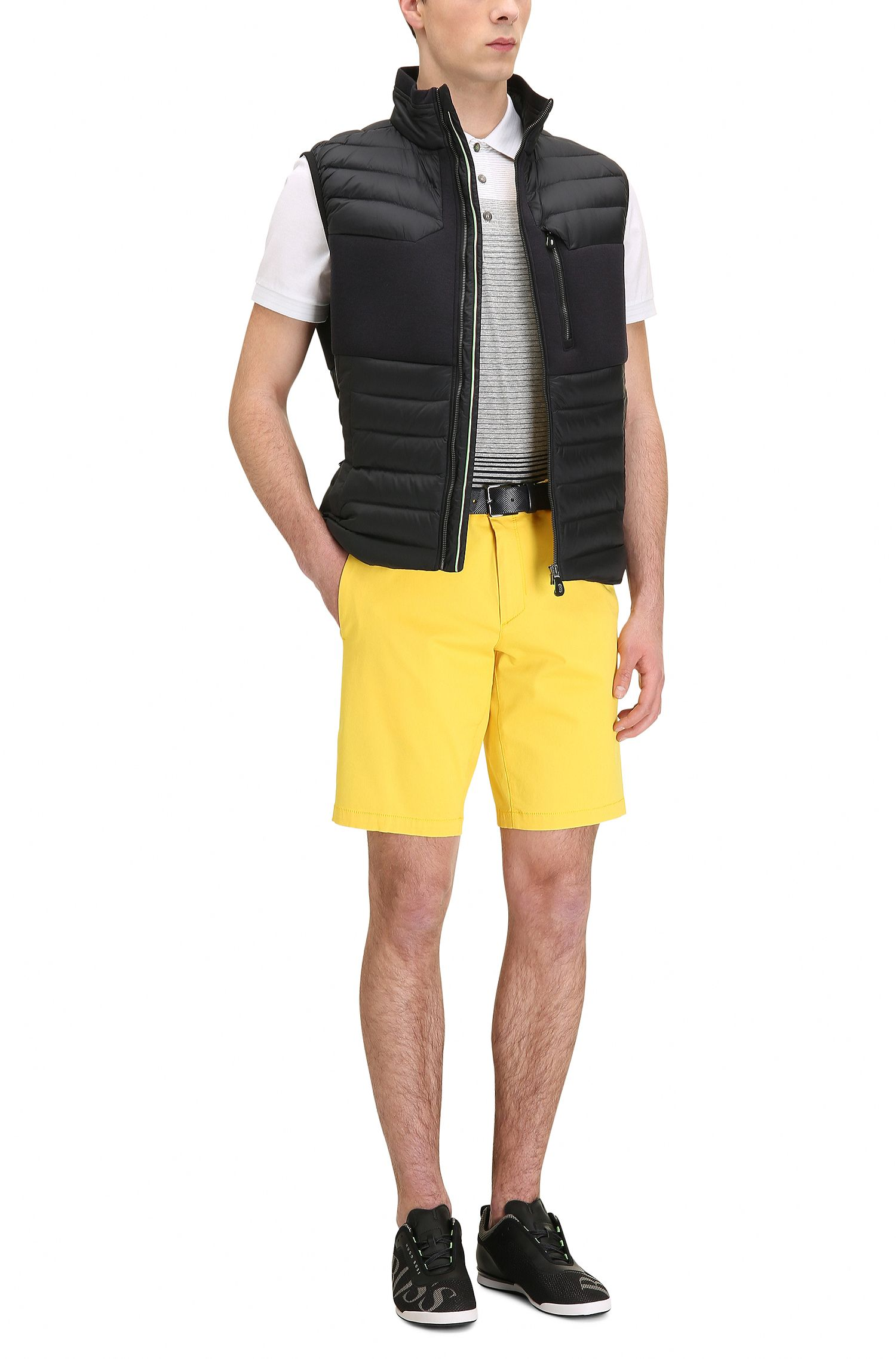 Satin Stretch Cotton Shorts, Slim Fit | Liem W, Yellow