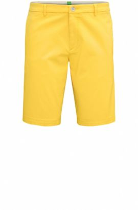 'Liem' | Slim Fit, Satin Stretch Cotton Shorts, Yellow