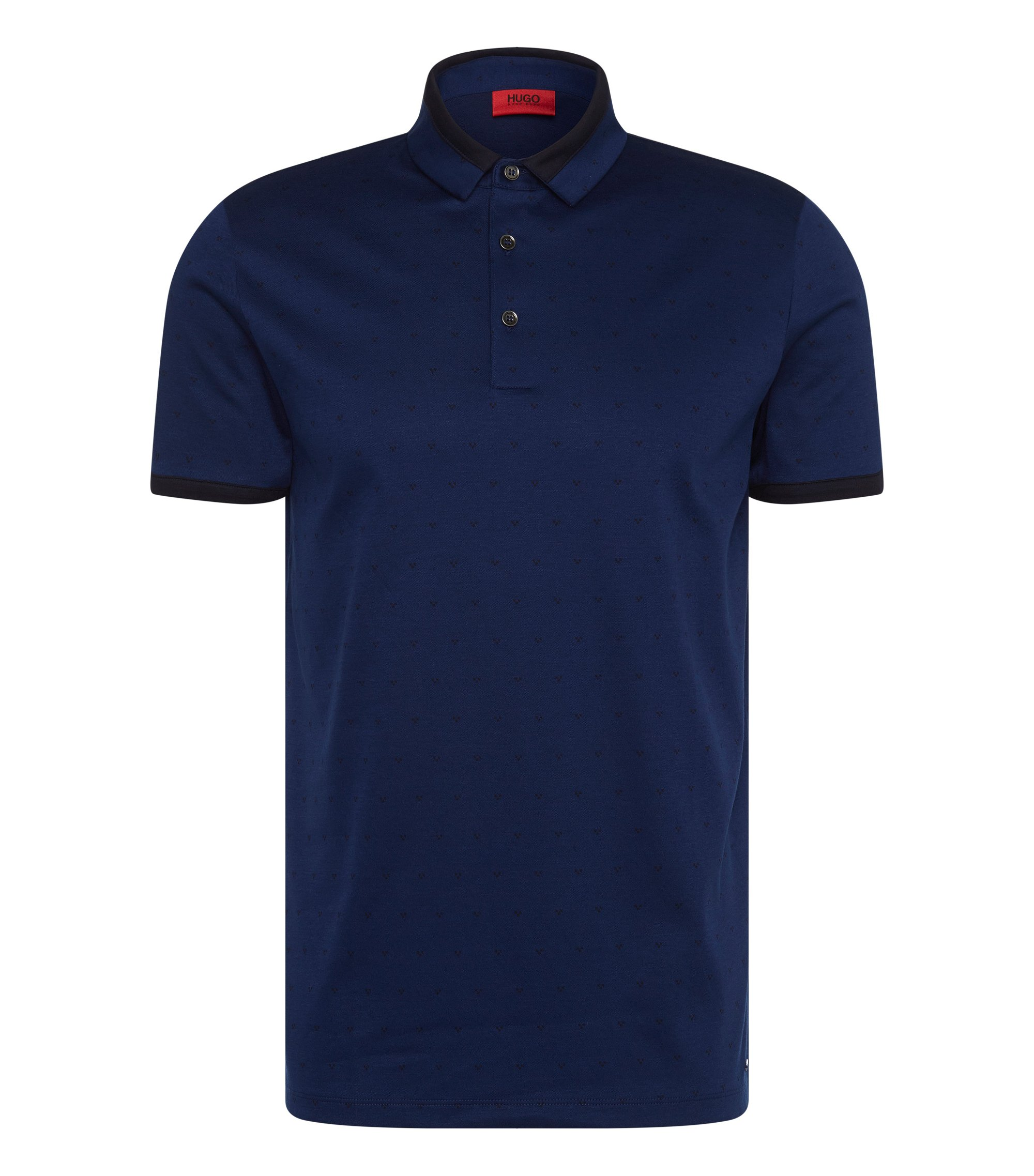 Cotton Jacquard Polo Shirt, Slim Fit | Denno, Blue