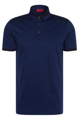 'Denno' | Slim Fit, Cotton Jacquard Polo, Blue