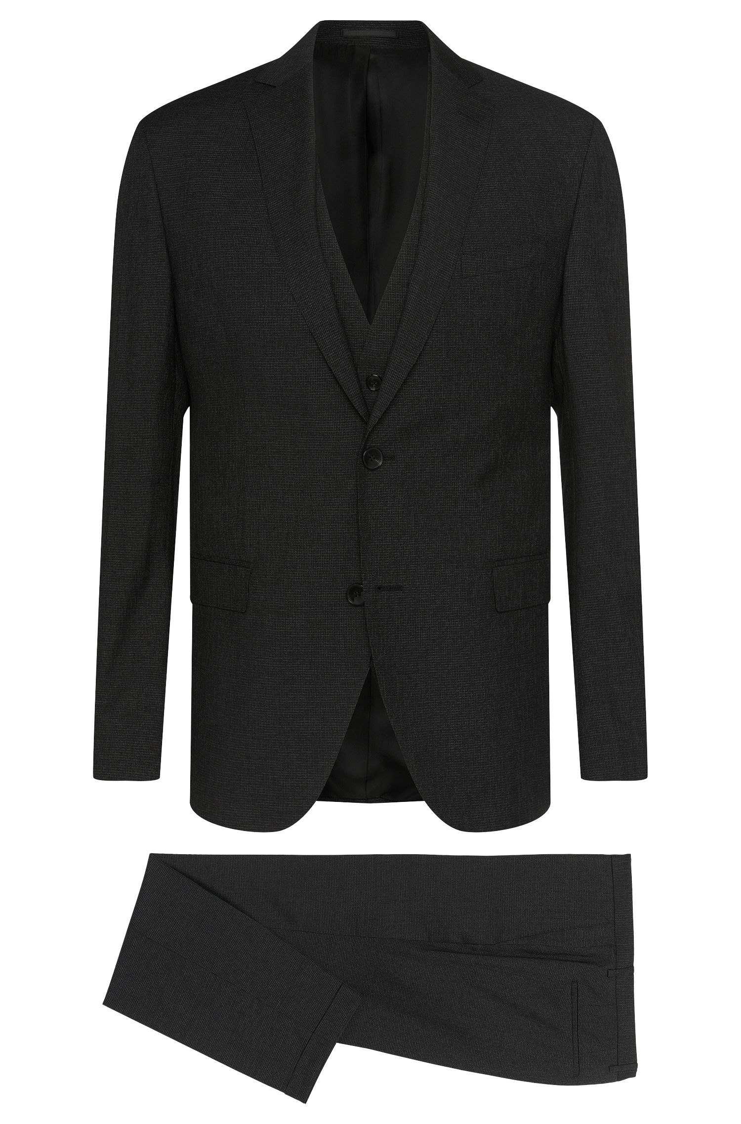 Virgin Wool Silk Blend 3-Piece Suit, Extra Slim Fit | Reyno/Wave WE