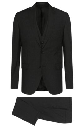 Virgin Wool Silk Blend 3-Piece Suit, Extra-Slim Fit | Reyno/Wave WE, Black