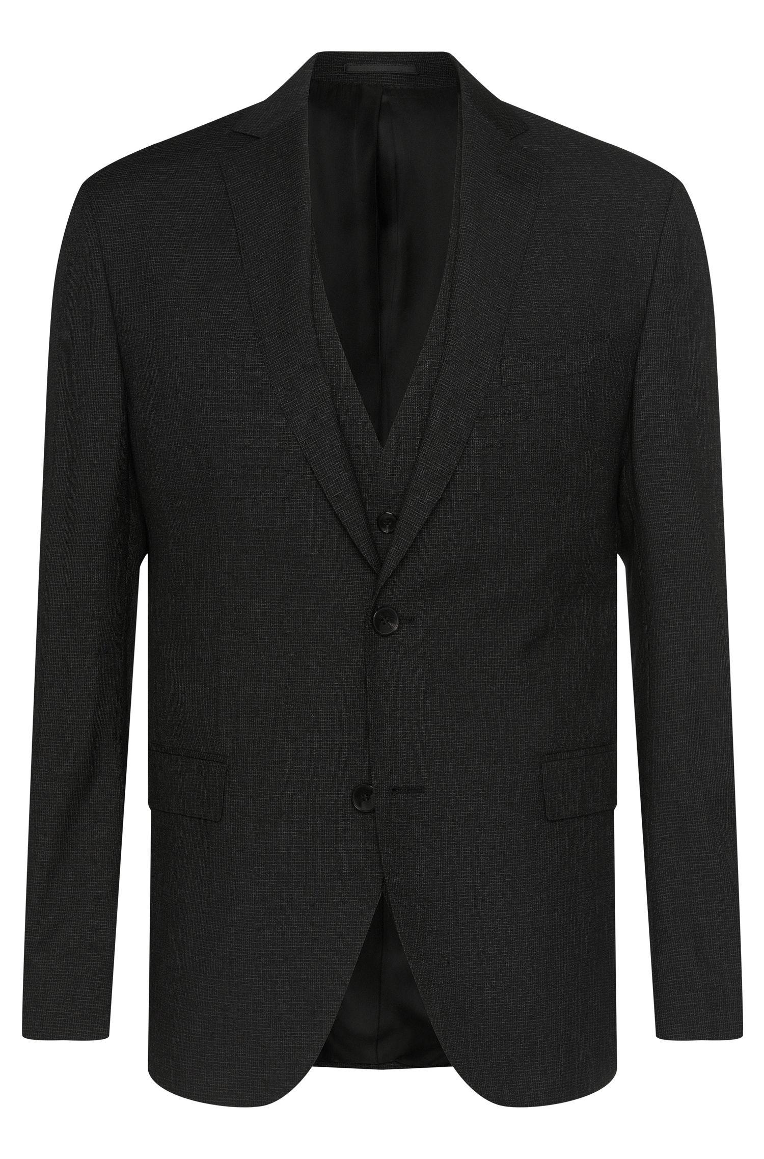 Wool-Silk 3-Piece Suit, Extra Slim Fit | Reyno/Wave WE, Black