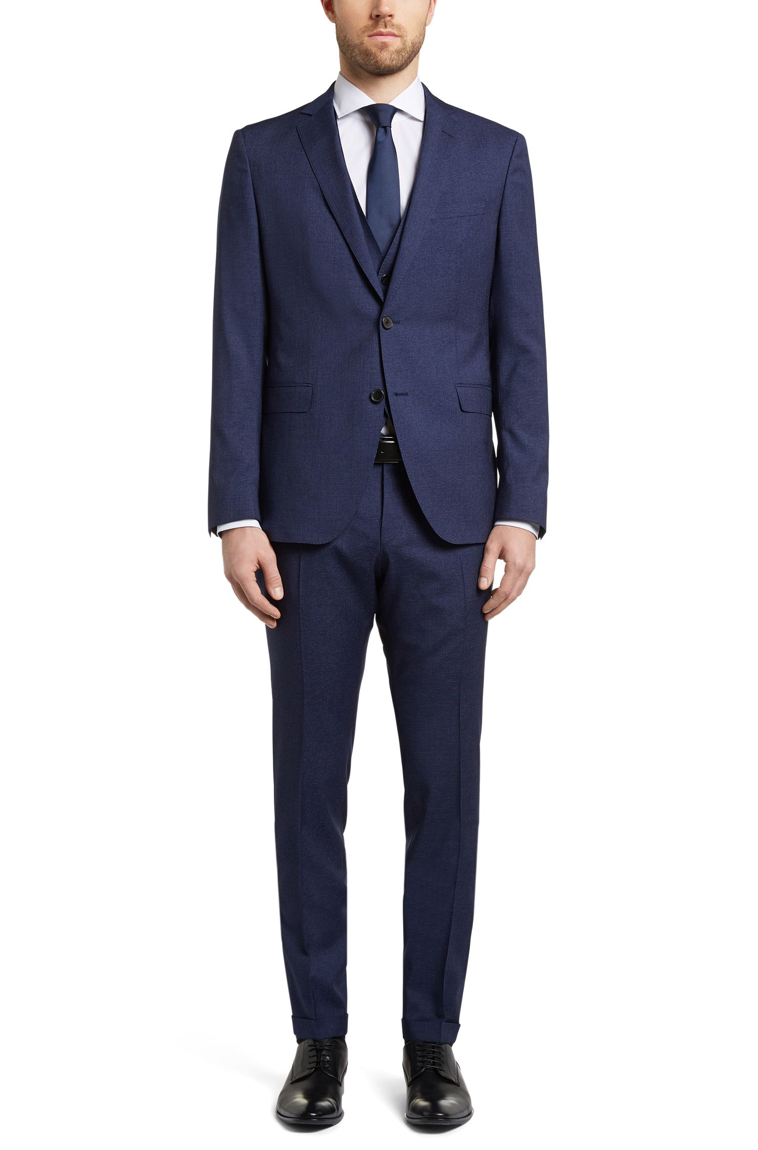 Wool-Silk 3-Piece Suit, Extra Slim Fit | Reyno/Wave WE