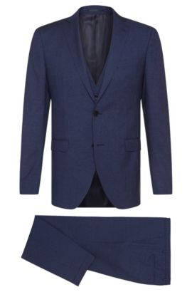 Virgin Wool Silk Blend 3-Piece Suit, Extra-Slim Fit | Reyno/Wave WE, Blue