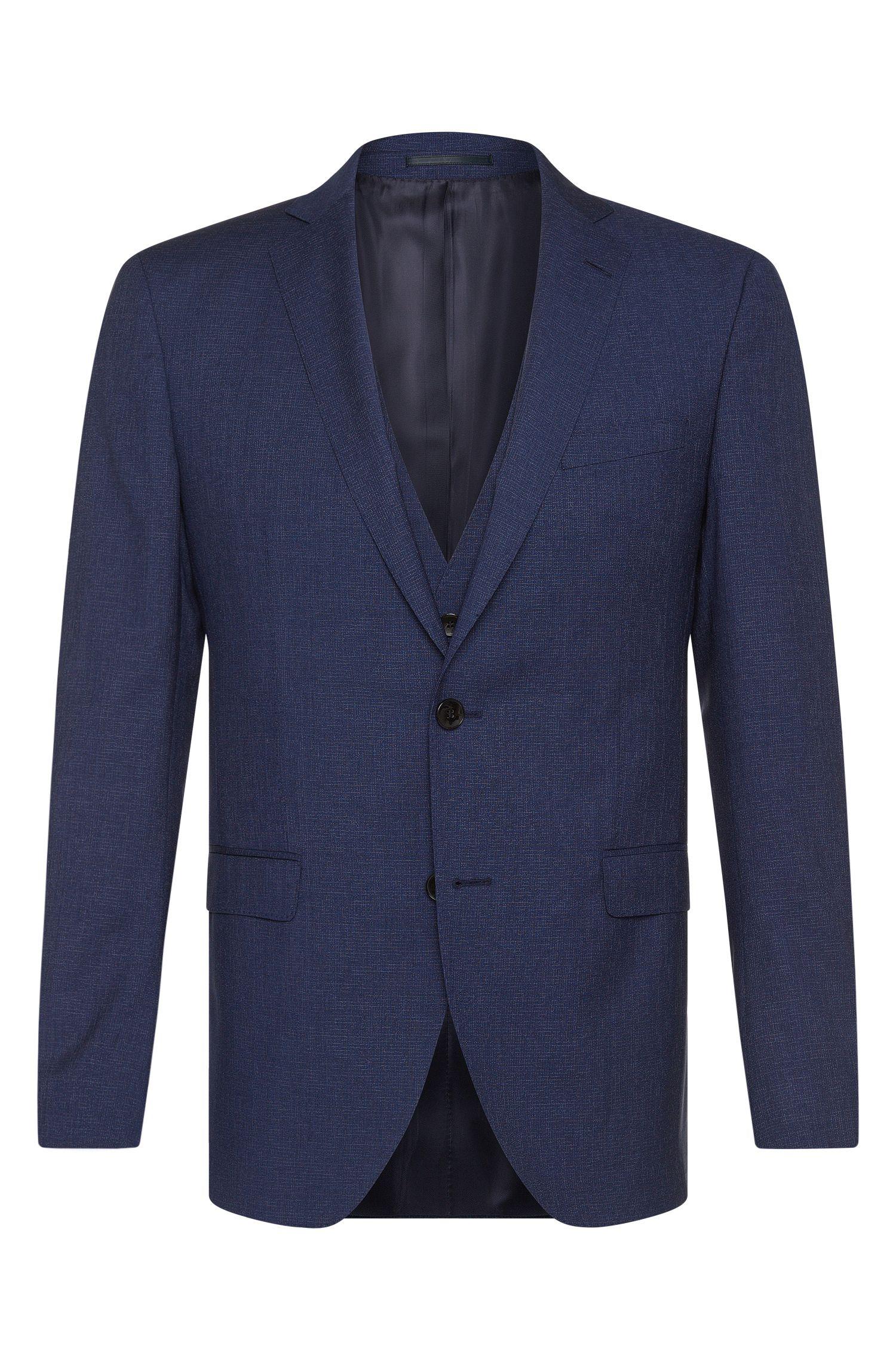 Wool-Silk 3-Piece Suit, Extra Slim Fit | Reyno/Wave WE, Blue