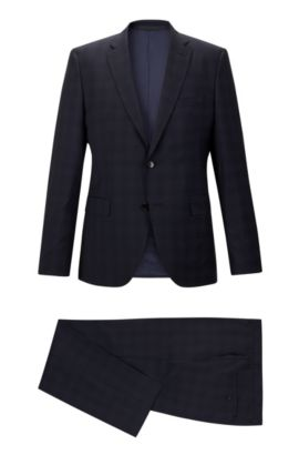 Super 100 Virgin Wool Suit, Regular Fit | Johnston/Lenon, Dark Blue