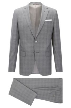 Italian Super 100 Virgin Wool Suit, Slim Fit | Hutson/Gander, Grey