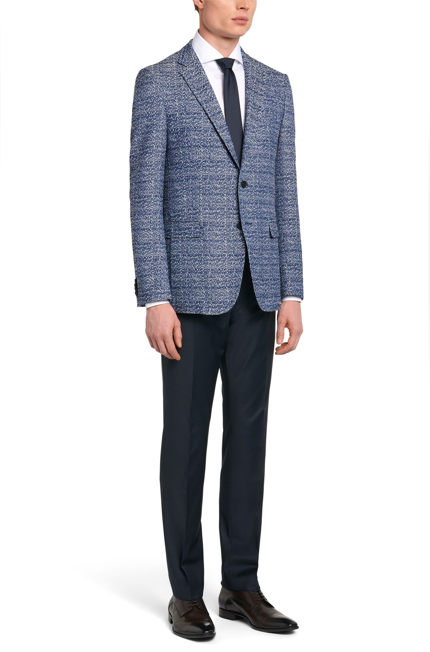 Cotton Blend Jacquard Sport Coat, Slim Fit | Nobis, Blue