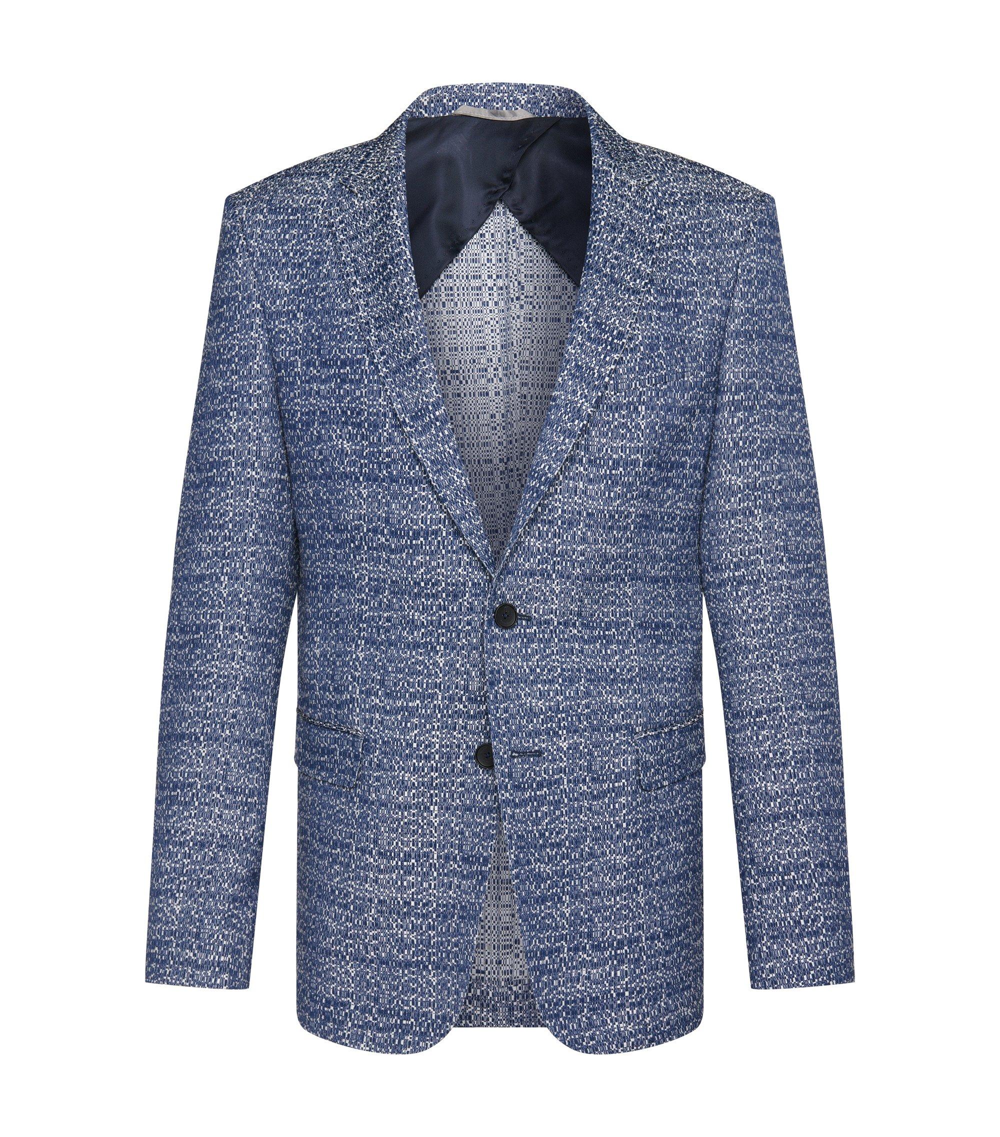 Cotton Blend Jacquard Sport Coat, Slim Fit   Nobis, Blue