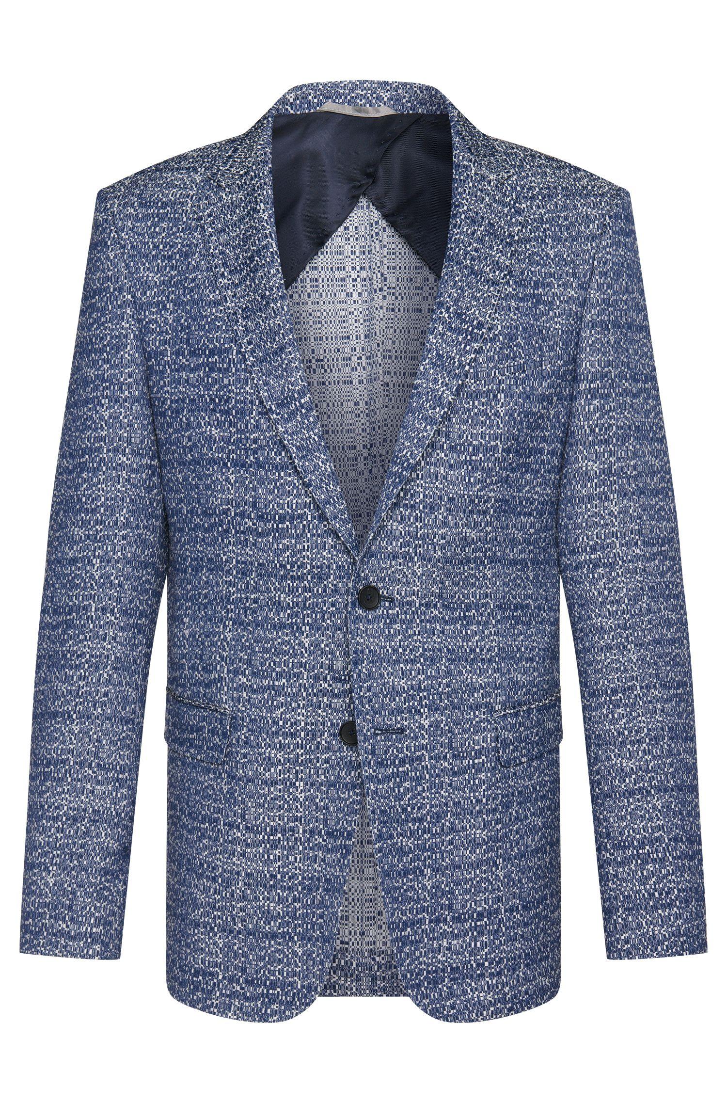 Cotton Blend Jacquard Sport Coat, Slim Fit   Nobis