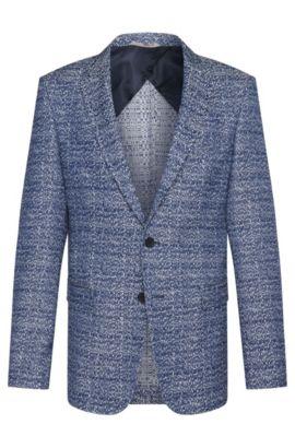 Cotton Blend Jacquard Sport Coat, Slim Fit | Nobis, Blue