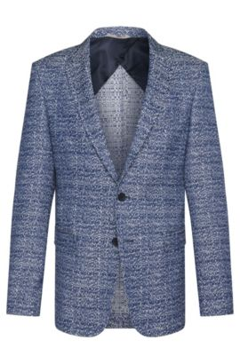 'Nobis' | Slim Fit, Cotton Blend Jacquard Sport Coat, Blue