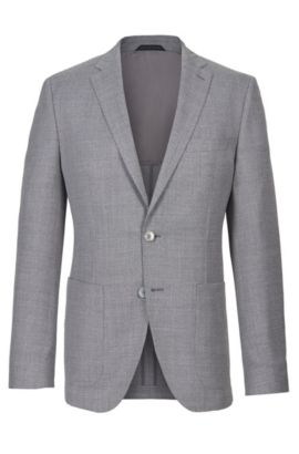 Virgin Wool Sport Coat, Regular Fit | Janson, Grey
