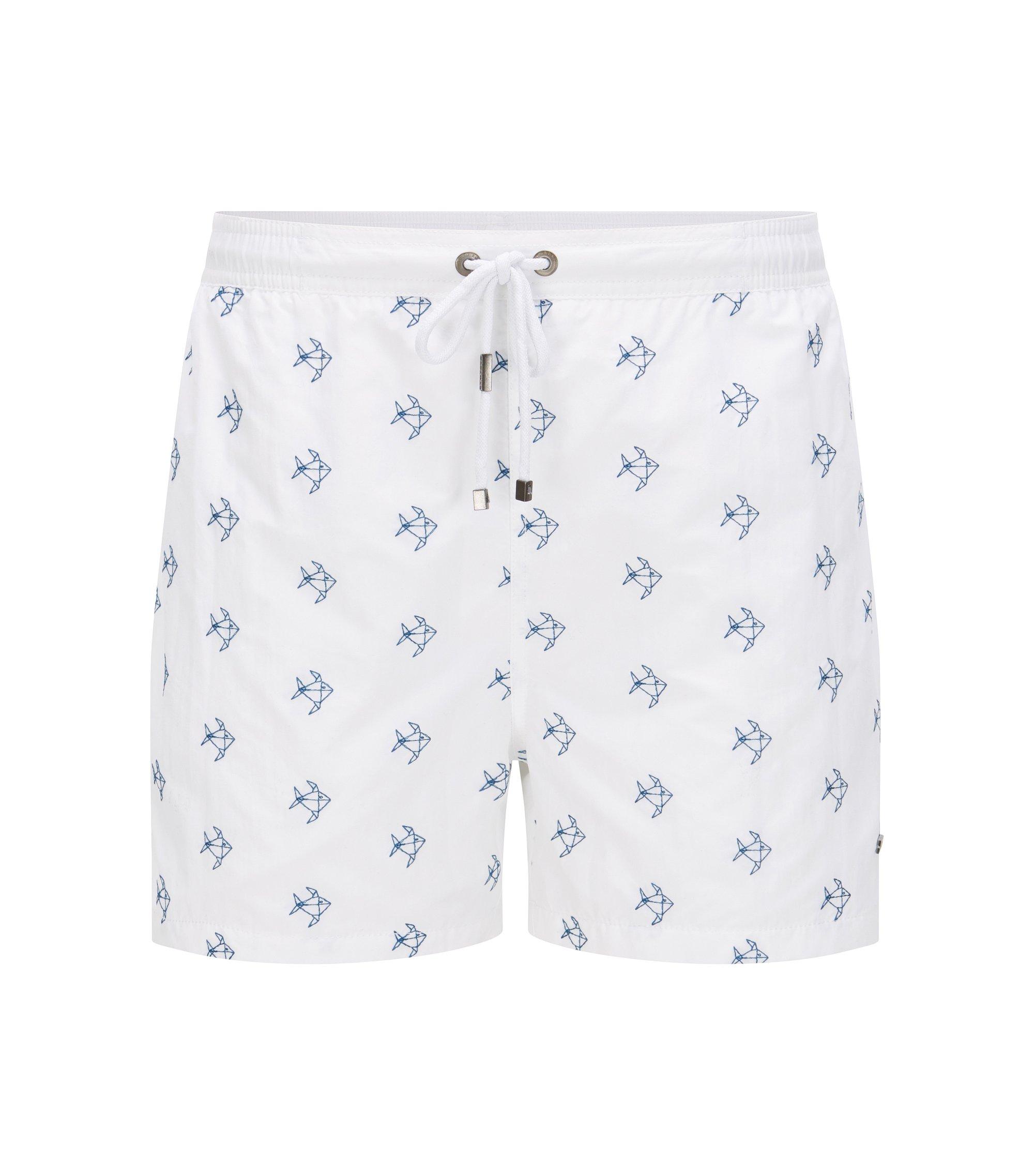 Quick Dry Nylon Embroidered Swim Short | White Shark, Open White