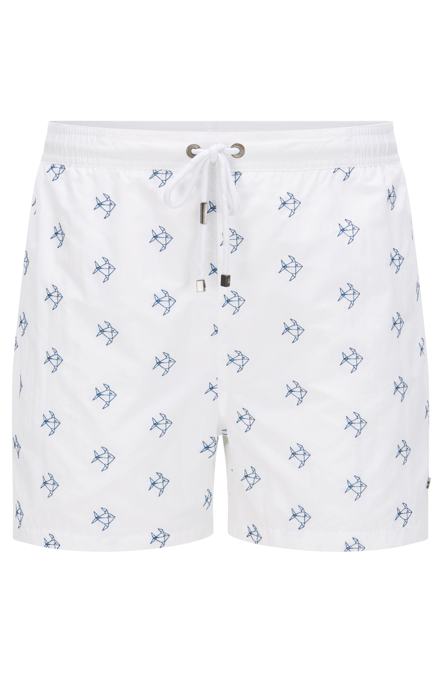 'White Shark' | Quick Dry Nylon Embroidered Swim Shorts