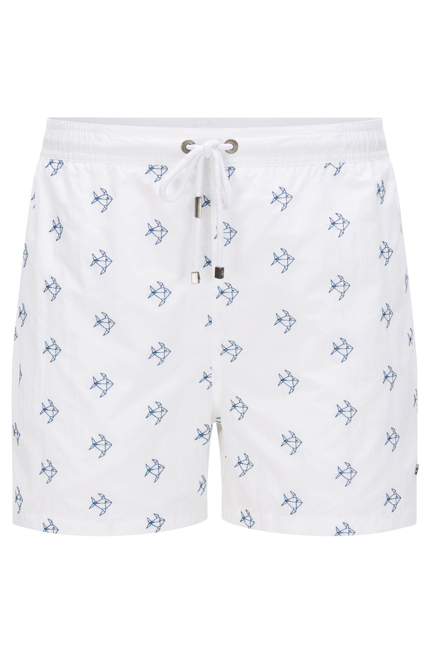 Quick Dry Nylon Embroidered Swim Short | White Shark