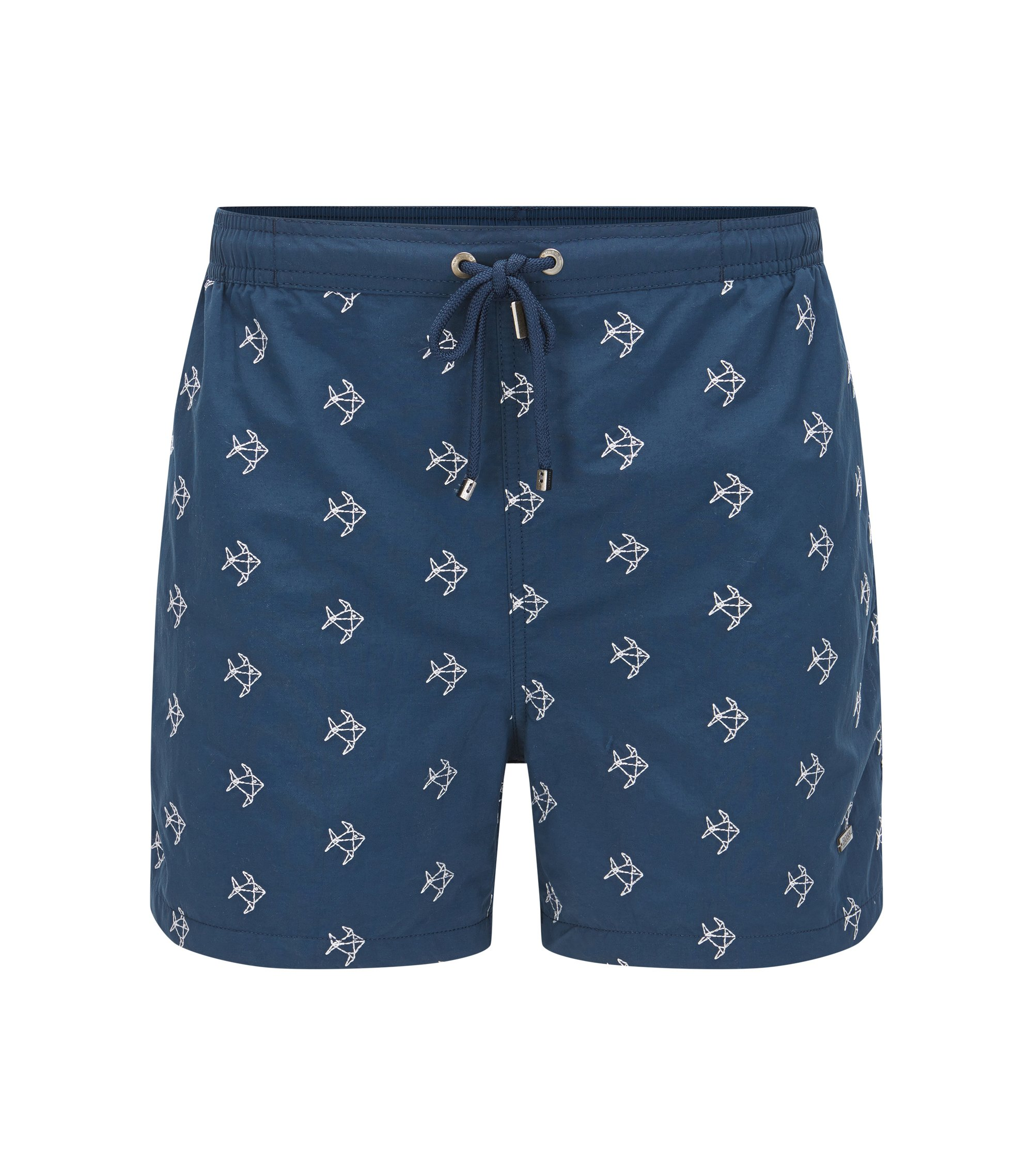 Quick Dry Nylon Embroidered Swim Short | White Shark, Dark Blue