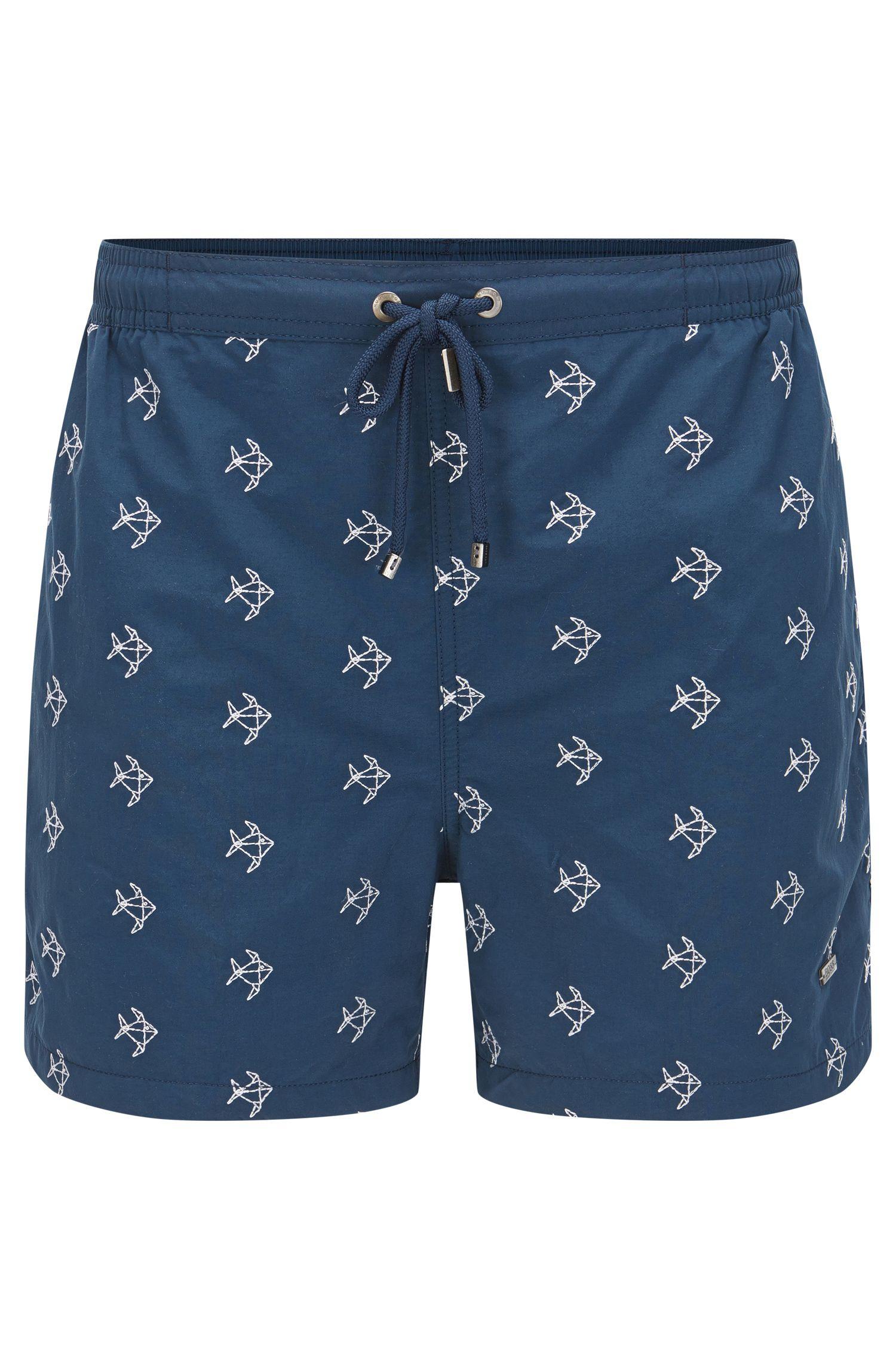 Quick Dry Nylon Embroidered Swim Short | White Shark, Dark Blue