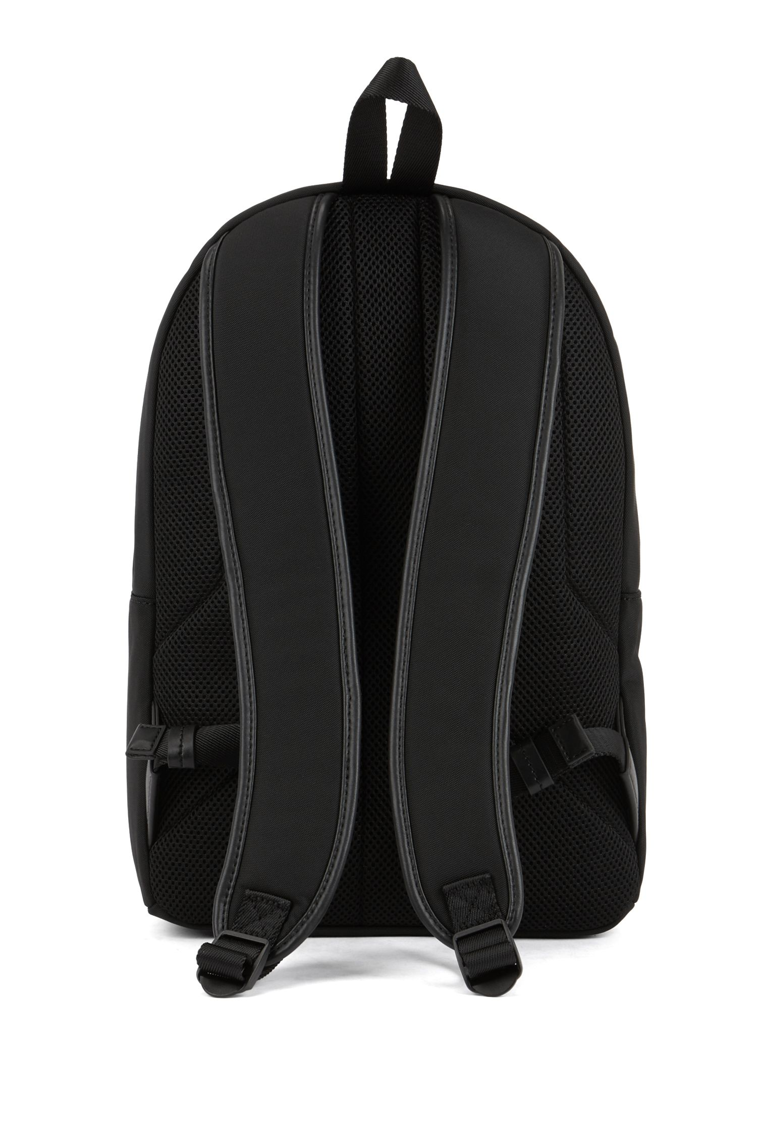 Nylon backpack with statement logo detail, Black