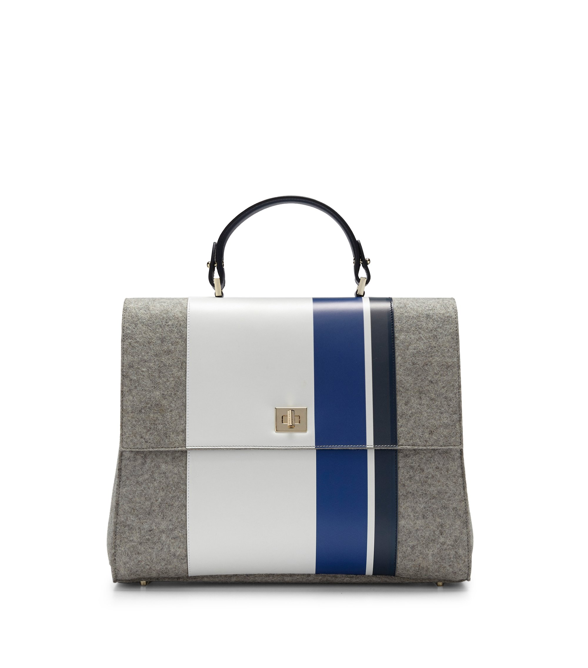 'BOSS Bespoke TH M-ON' | Leather Wool Handbag, Detachable Strap, Light Grey