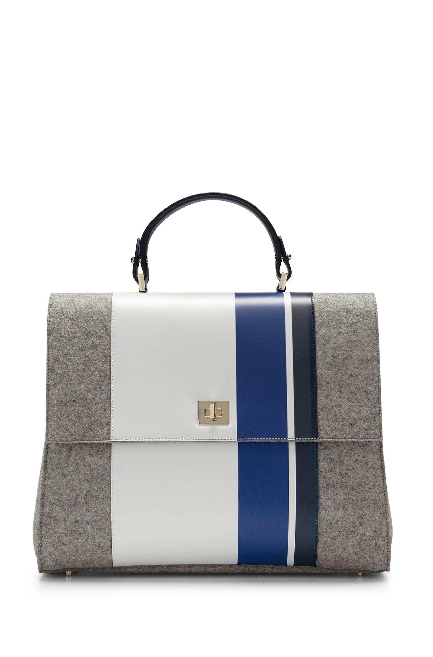 'BOSS Bespoke TH M-ON' | Leather Wool Handbag, Detachable Strap