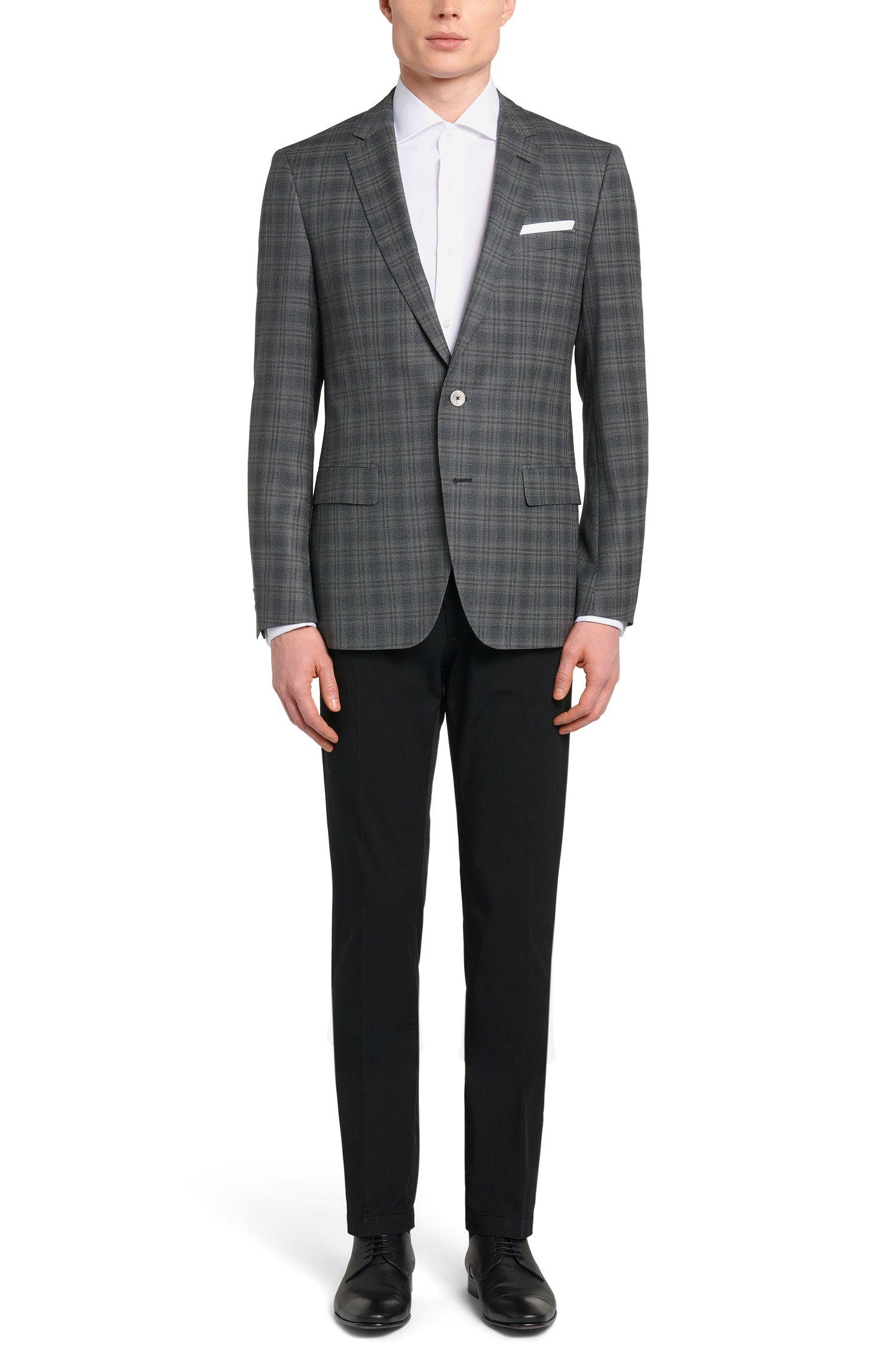 Italian Super 100 Virgin Wool Sport Coat, Slim Fit   Hutsons, Charcoal