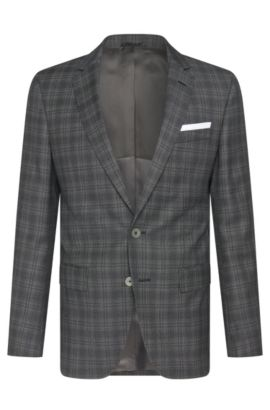 Italian Super 100 Virgin Wool Sport Coat, Slim Fit | Hutsons, Charcoal