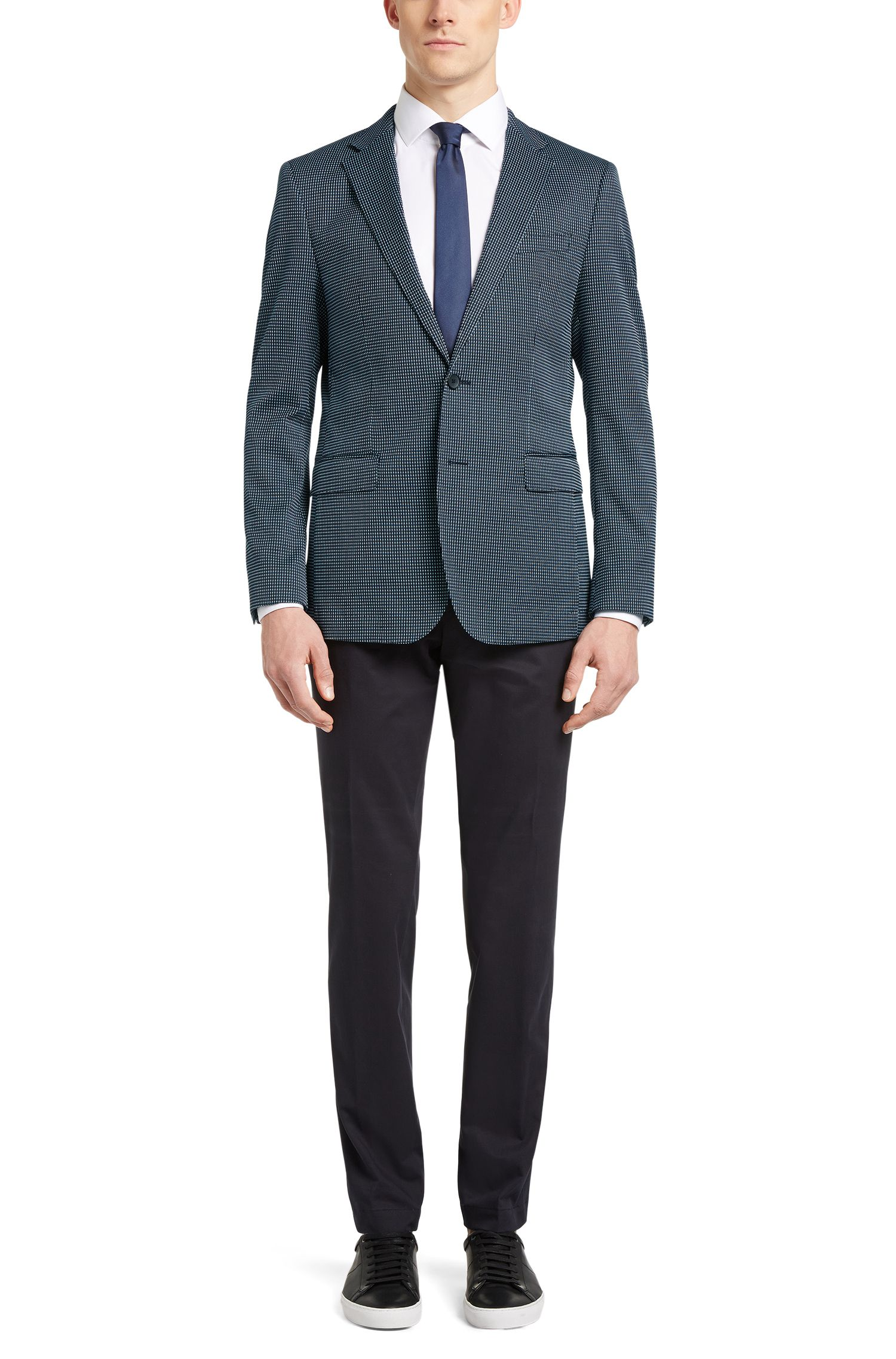 Stretch Cotton Blend Patterned Sport Coat, Slim Fit | Nobis