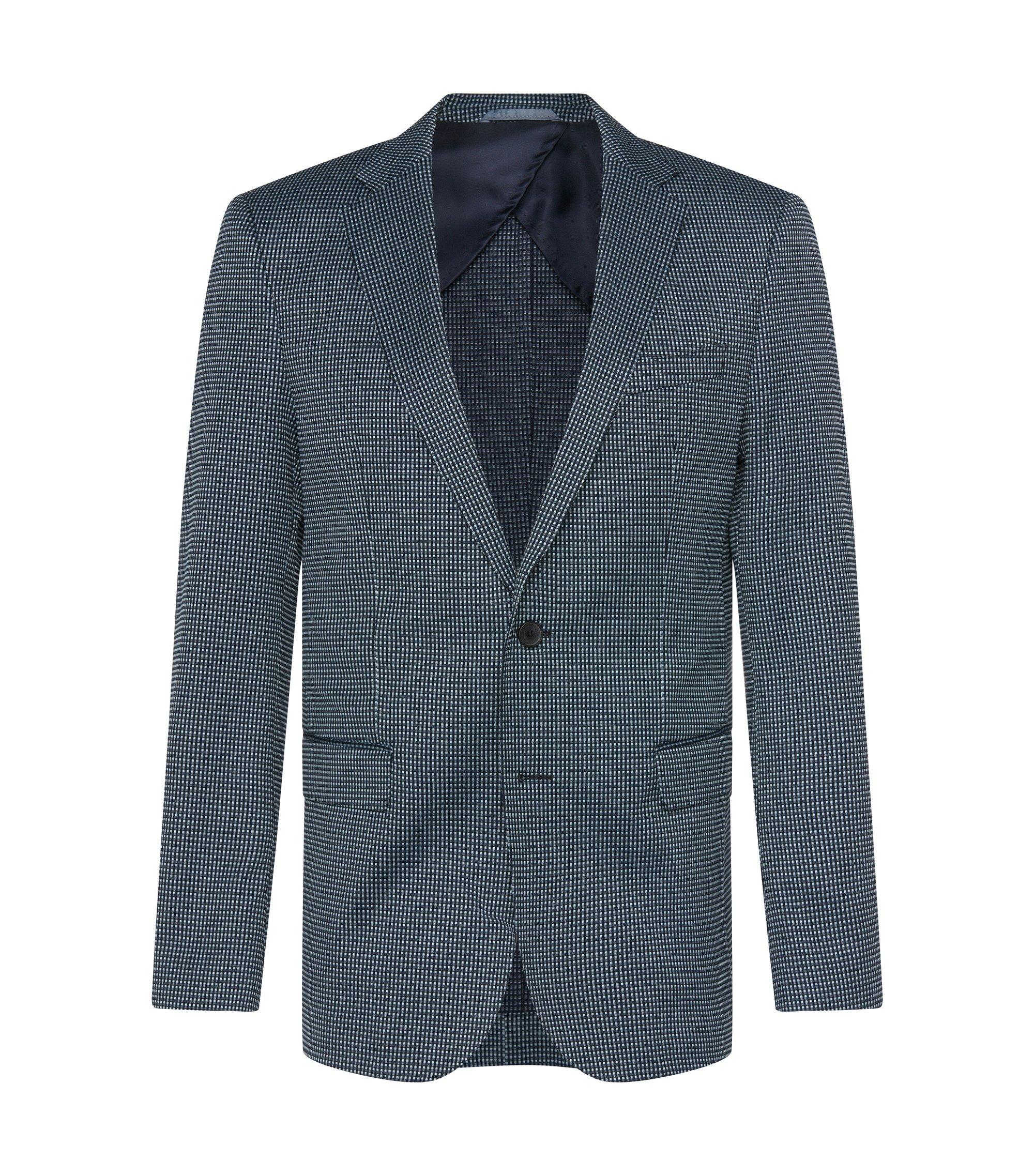 Stretch Cotton Blend Patterned Sport Coat, Slim Fit | Nobis, Dark Blue