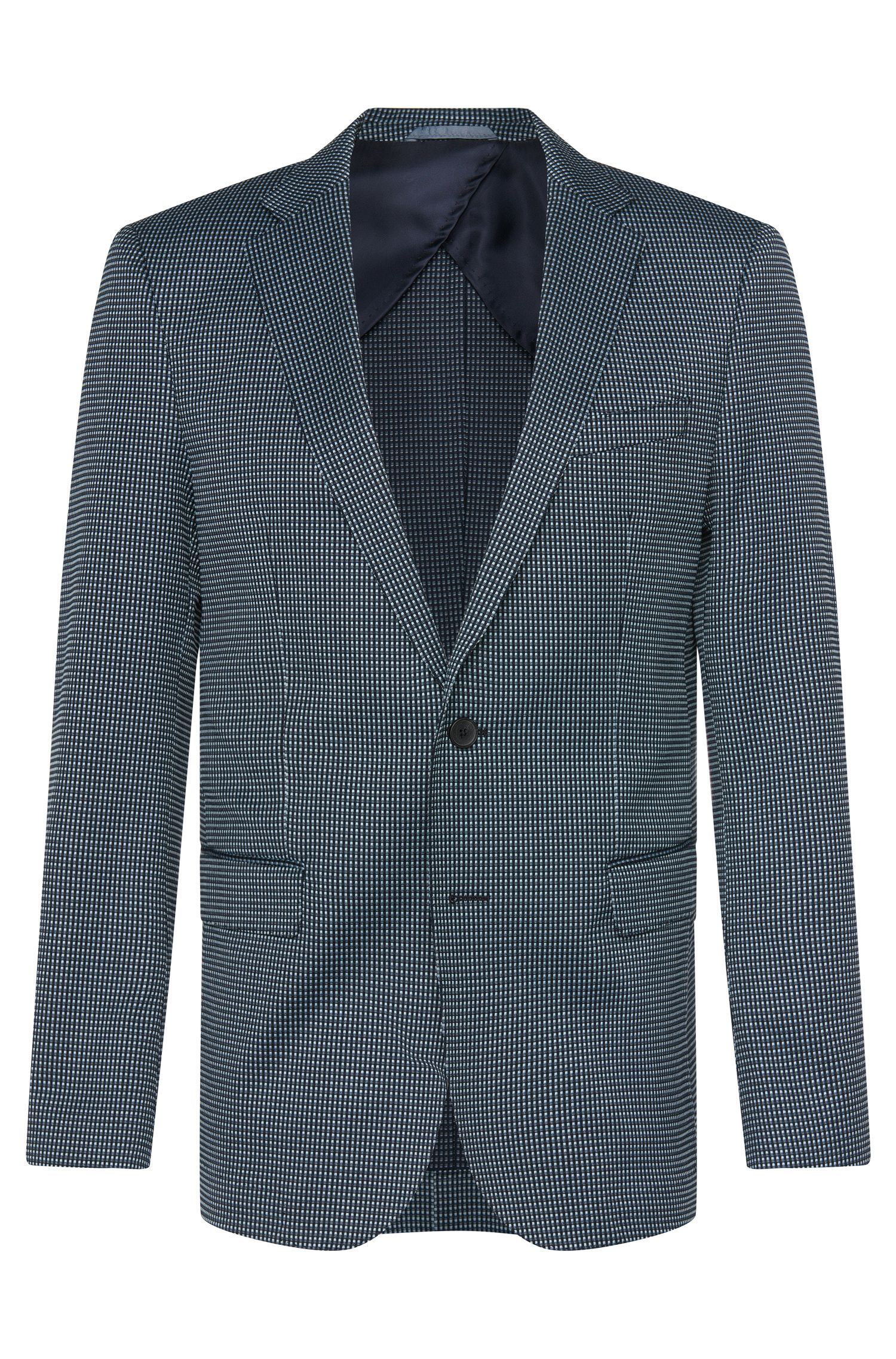 Stretch Cotton Blend Patterned Sport Coat, Slim Fit   Nobis