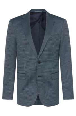 Stretch Cotton Blend Patterned Sport Coat, Slim Fit | Nobis, Dark Blue